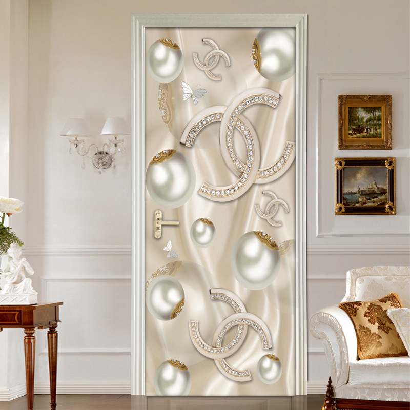 Adhesivo estereoscópico 3D para puerta con forma de bola circular, decoración de Puerta del dormitorio para sala de estar de estilo europeo moderno, papel tapiz autoadhesivo de PVC mural