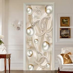 3D Stereoscopic Circle Ball Door Sticker Modern European Style Living Room Bedroom Door Decor Murale PVC Self-adhesive Wallpaper