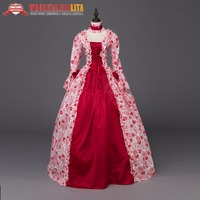 Renaissance Georgian Period Masquerade Princess Dress Antique Floral Theater Gothic Victorian Dresses