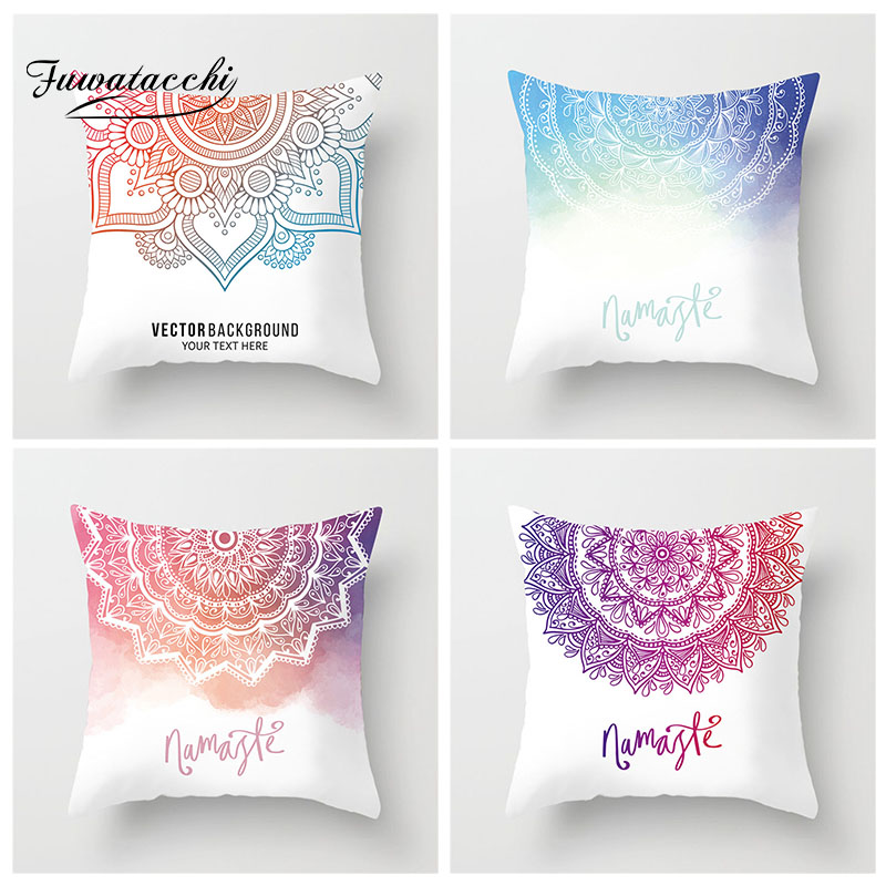 Fuwatacchi Mandala Cushion Cover Geometric Gradient Pattern Pillow Cover For Home Sofa Chair Decorative Indian Style Pillowcases