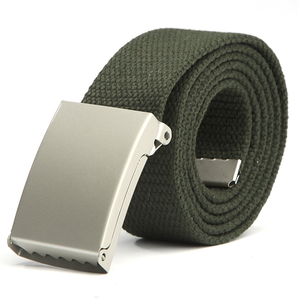 2019 Mens Women Silver Metal Buckle Canvas Waistband Strap Belt Casual Waist Belt