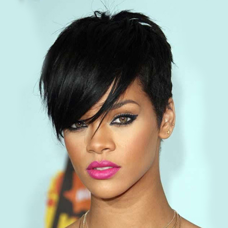 Women Full Lace Rihannas Hairstyle Wigs Short Black Pruik 10