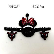 52x37mm  Electrophoresis black Zinc alloy Rhinestone Minnie plane pendant in silver for Jewelry Necklace making 50PCS RMP026