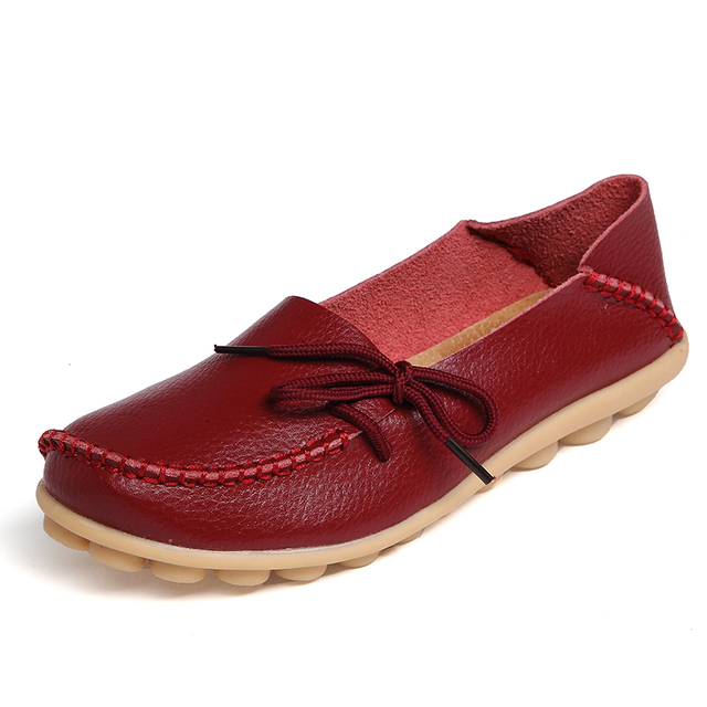 New Real Leather Women Flats Moccasins Loafers Ladies Shoes Wild Driving women Casual Shoes Leisure Concise Flat shoes ST179 1