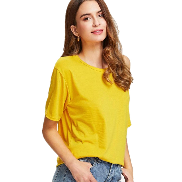 99f4498a6f99 Hz 2018 New Vougue Solid Loose Women T Shirt Unique One Side Off Shoulder  Summer Tops Short Sleeve O-neck Elegant Cotton Tee
