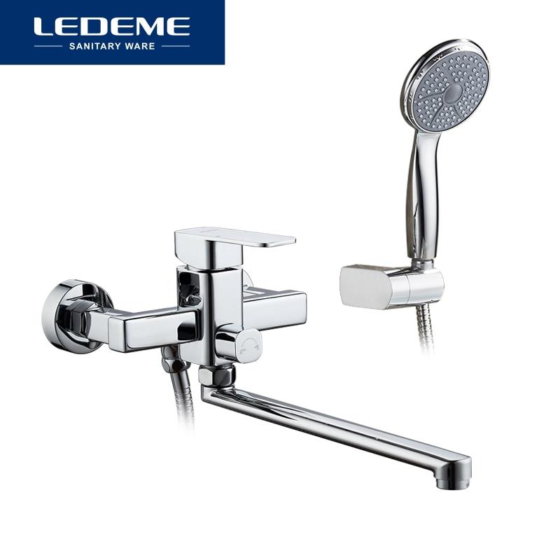 LEDEME ensemble de robinet de douche salle de bain en laiton baignoire robinet de douche robinet de douche chromé robinet mitigeur mural L2233 - 6