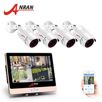 ANRAN 4CH CCTV System 1080P 12 LCD Monitor HD NVR Video Surveillance Kit IP Camera Outdoor