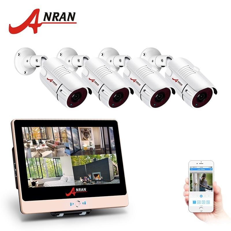 ANRAN 4CH CCTV System 1080P 12 LCD Monitor HD NVR Video Surveillance Kit IP Camera font