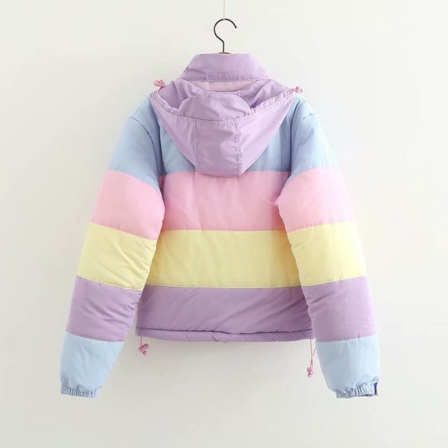 Women Coat Oversize Harajuku Parkas Short Padded Casual Warm Jacket Striped Winter Clothing Rainbow Stripe Splicing Fluffy Parka 1