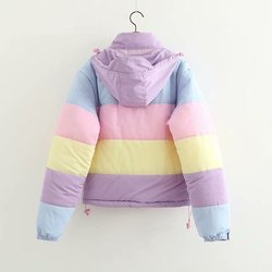 Women Coat Oversize Harajuku Parkas Short Padded Casual Warm Jacket Striped Winter Clothing Rainbow Stripe Splicing Fluffy Parka 2