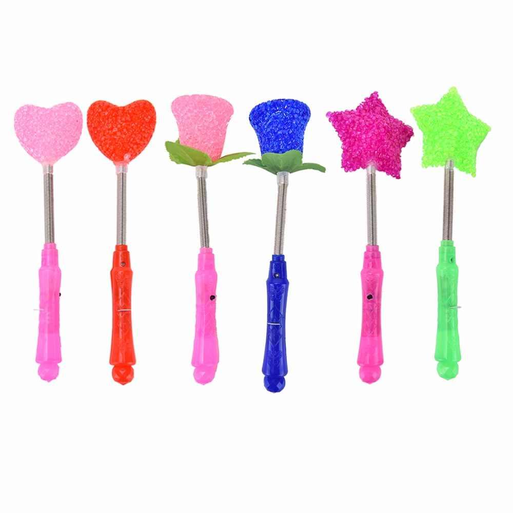 Baru Lampu LED Magic Star Tongkat Pesta Xmas Halloween Bintang Jantung Bunga Tongkat untuk Anak-anak Berkedip Lampu Up Glow Tongkat 1 pc