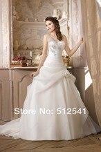 New Arrive 2014 Bridal Wedding Dress A Line One Shoulder Beads Sequin Organza Ruffle Flowers Sweep Train yk8Y76