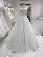 White Ivory A Line Scoop neck Netting Lace Applique Sashes Floor length Bridal Gown Wedding Dresses