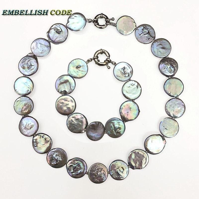 Baroque perle choker déclaration collier bracelet gris coloré couleur ronde pièce plate forme d'eau douce naturelle grande taille perles