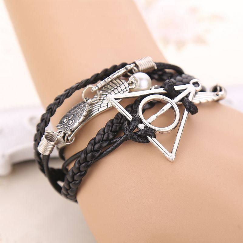 Fashion Vintage Owl Wings Deathly Hallow Antique Silver Multilayer charm Bracelets