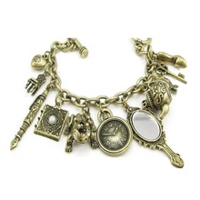 Vintage espejo Rana reloj silla tetera pluma llavero pulsera de abalorios de corazón, DIY Retro Hada Mágica pulsera de la serie Tale