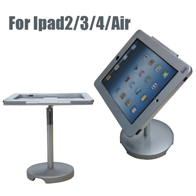 Aluminum alloy adjustable counter tablet security display stand holder with lock and key for ipad 2/3/4 aluminum alloy abs plastic multi functional holder adjustable stand table mounts for ipad tablet