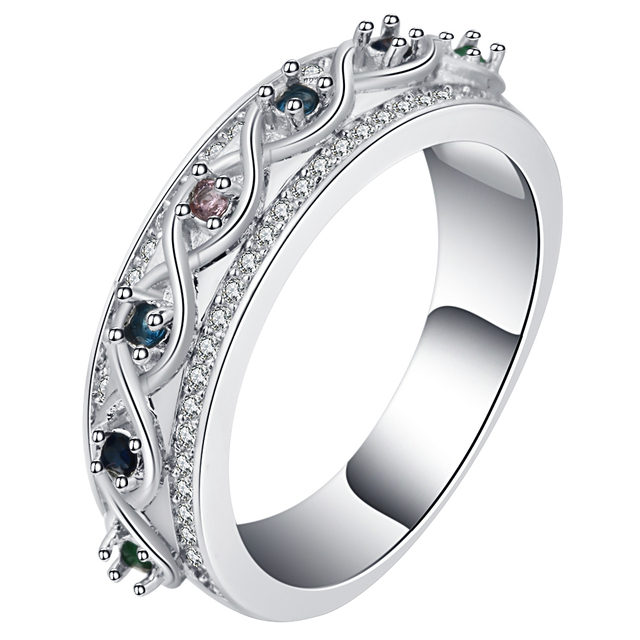 UFOORO Classic Ancient Roman Style Romantic Wedding Ring Vintage Silver Elegant Zircon Band Anniversary Jewelry Female