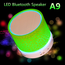 2017 Newest 1Pcs LED MINI Bluetooth Speaker A9 TF USB FM Wireless Portable Music LED Light For Phone PC with Mic Hot Selling