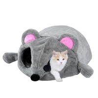 Filling Comfortable Nest For Cats Gray Mouse Form Bed Small Cats Dogs Cave Bed Removable Kisses Waterproof Bottom Cat House