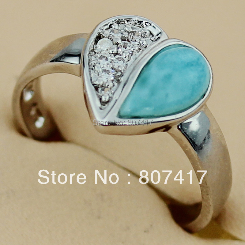 Fashion Larimar jewelry and white Cubic Zirconia Beautiful Silver Plated Bohemia Hot Favourite Promotion RING R3502