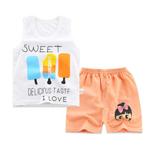цены на 2019 summer children clothing baby boy and girl clothes suit best quality 100% cotton kids clothing set cartoon infant body suit  в интернет-магазинах