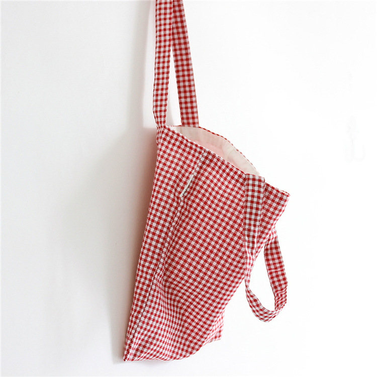 Cotton Linen Shopping Tote Shoulder Carrying Bag Eco Reusable Bag Red Check L140