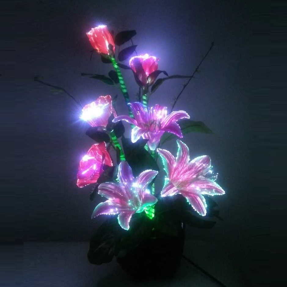 Fibre optic christmas flowers and xmas flowers - Creative Valentine S Day Craft Birthday Wedding Decoration Lily Optical Fiber Lamps Novelty Romantic Lover S Eternal Rose