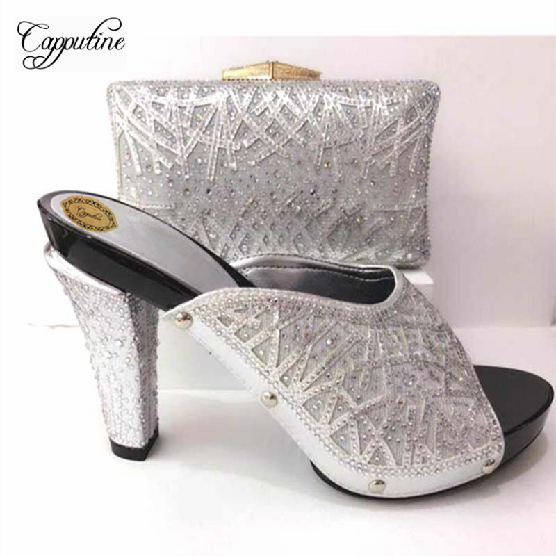 Capputine Latest Italian Party Shoes And Bags To Match Set Nigerian Rhinestone Ladies Pumps Slipper Shoes And Bag Set YK-061 capputine latest italian woman shoes and bags to match shoes with bag set bag and shoes set italy nigerian shoes and purse set