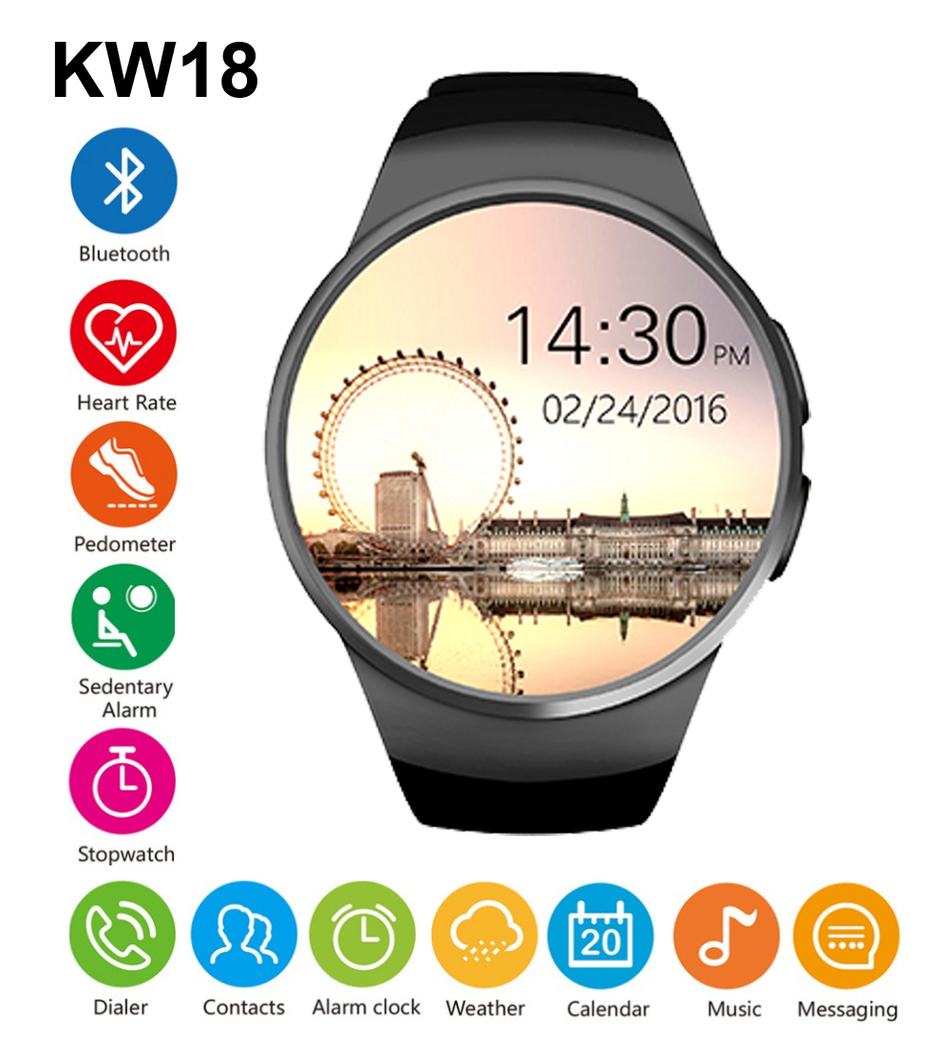 KW18 Bluetooh Smart Watch Pedometer Heart Rate Monitor Support SIM TF Card for Android Support GSM