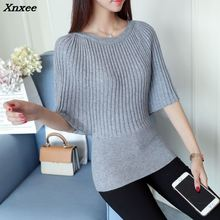 Xnxee 2018 women fashion sweater real simple all-match slim 38 bat sleeve Pullover soft