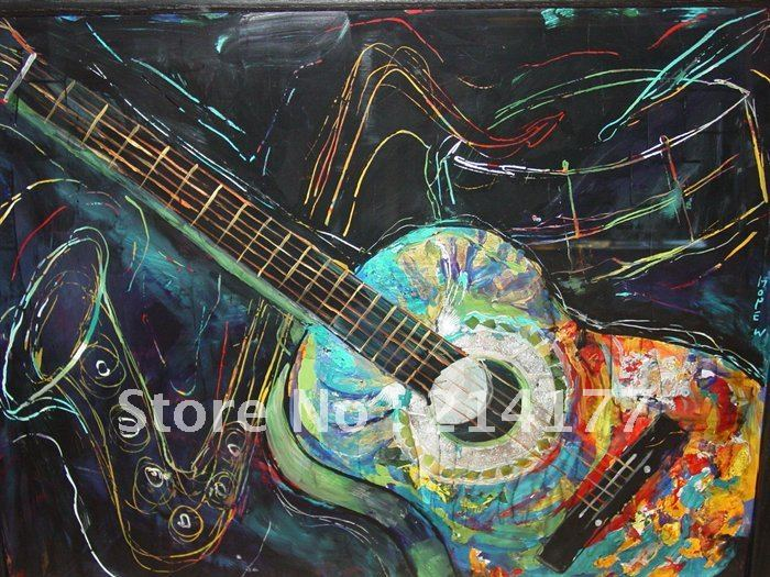Free Shipping 100% Handpmade Abstract Guitar Canvas Oil