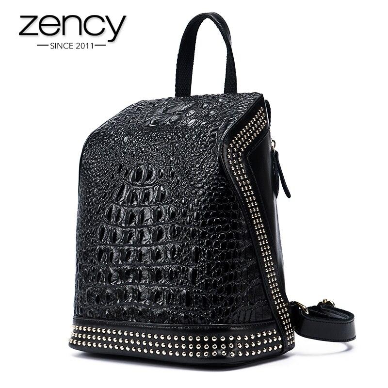 <font><b>Gold</b></font> Rivets Crocodile Genuine Leather Daily Backpack Capacity Women Casual Knapsack Teenage Girls School Travel Bags Mochila