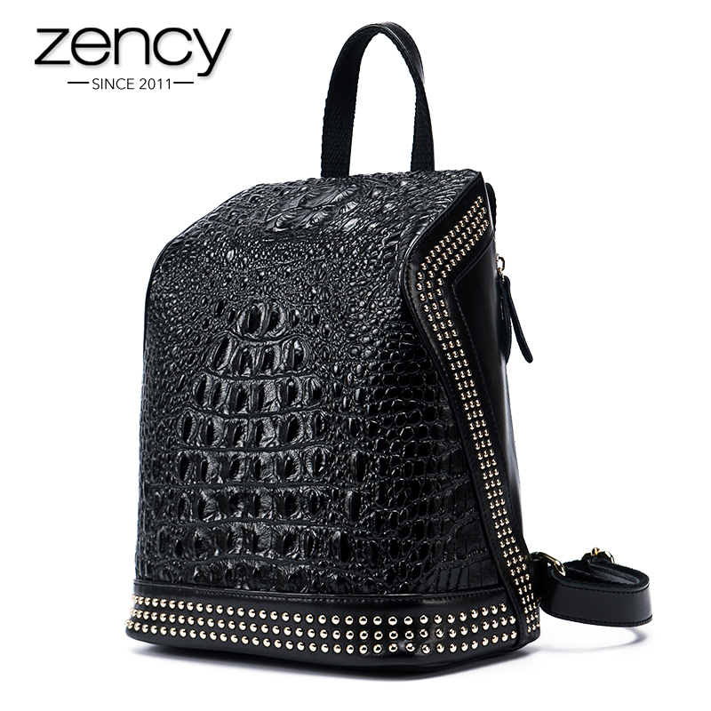 Gold Rivets Crocodile Genuine Leather Daily Backpack Capacity Women Casual Knapsack Teenage Girls School Travel Bags Mochila sendefn genuine leather backpack large capacity rivet black shoulder bag women casual backpack teenage girls school travel bags