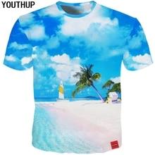 0f33935b YOUTHUP 2018 Harajuku 3d T Shirt Men Sky Beach Print Holiday T shirt Casual Hawaii  Tees