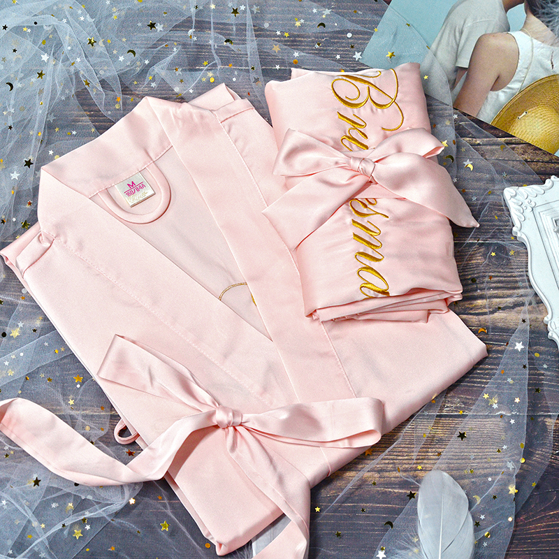 1pcs wedding proposal ideas Hen bachelorette party Bride Bridesmaid Maid of honor gifts custom satin robes personalized robe image
