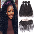 13X4Ear To Ear Lace Frontal Closure With Bundles 7A Indian Virgin Hair With Frontal Closure Kinky Curly Virgin Hair With Frontal
