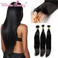 Cabelo virgem malaio com fechamento macio cabelo humano em linha reta 3 pacotes com fecho malaio do cabelo weave bundles com lace closure