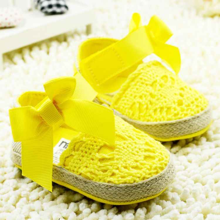 ROMIRUS Bebê Recém-nascido Menina Sapatos Primavera Verão Doce Muito Leve Mary Jane Grande Arco De Malha De Dança Vestido de Bailarina Pram Berço sapato