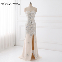 Luxury Heavy Beaded Prom Evening dresses Sweetheart Slit Champagne Mermaid evening Dress In stock Lace up back Party Gowns