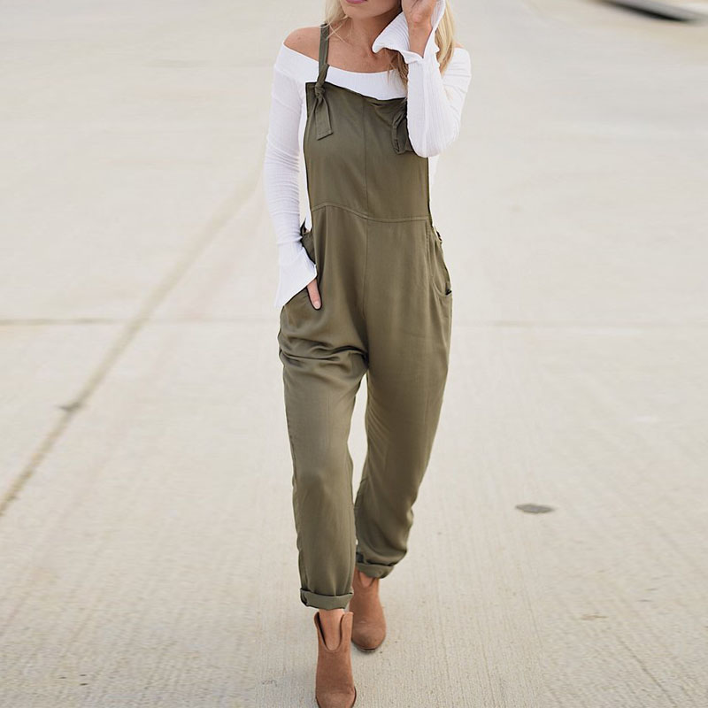 ZANZEA Women   Jumpsuit   2019 Summer Army Green Long Playsuit Pockets Casual Loose Combinaison Femme Overalls Bodysuit Rompers 5XL