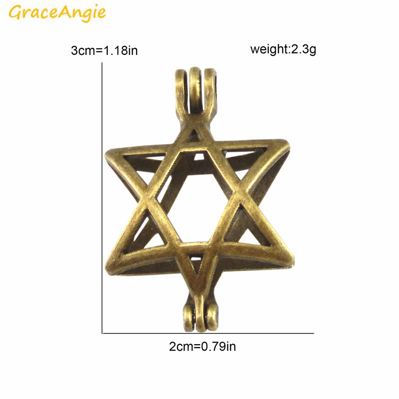 GraceAngie 2PCS Openable Five Pointed Star Hollow Pearl Bead Cage Wish Box Prayer Locket Pendant Charm Scented Jewerly Handmade