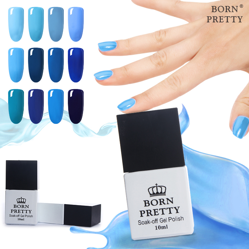 BORN PRETTY 12 Bottles 10ml Nail UV Gel Blue Series Gel Polish Soak Off UV Polish Varnish 12 Colors Manicure Nail Art Polish ободки pretty mania ободок