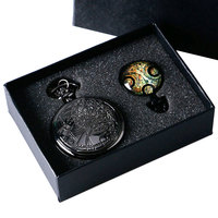 UK Movie Doctor Who Pocket Watch Men Quartz Fashion Black Necklace Vintage Dr Who Seal Pendant