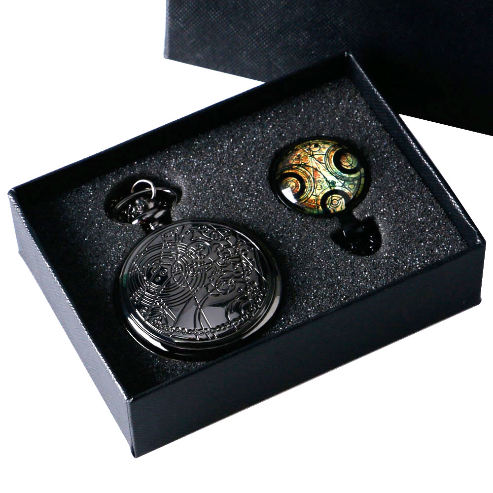 UK Movie Doctor Who Pocket Watch Men Quartz Fashion Black Necklace Vintage Dr Who Seal Pendant With Gift Box Set