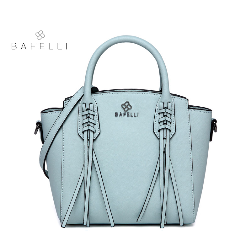 купить BAFELLI split leather shell shoulder bag Large capacity fashion tassel luxury handbag black bolsa feminina women messenger bag по цене 5371.8 рублей