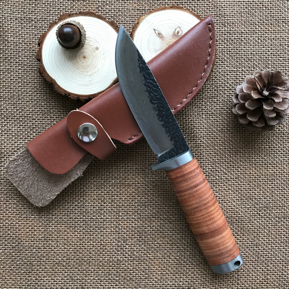 58RHC High-carbon steel Straight Knife Forged Steel Handmade Damascus steel Knife Hunting Knife Fixed Tactical Knives sickle hook sickle spring steel hand forged knives chopping knife mowing farm garden harvest knife specials