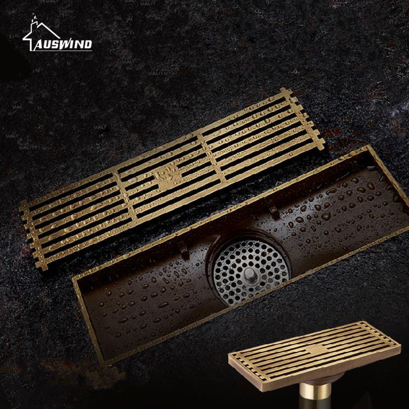 Antique Brass Square Floor Drain Bathroom Linear Shower Floor European Drain Wire Strainer Art Carved Cover Waste Drainer G50 modern stainless steel bathroom linear shower drain floor drain wire strainer 70cm chrome cover waste drainer