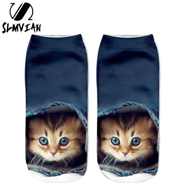 SLMVIAN Wholesale 3D Animal Cat Printed Socks For Men Women Cute Unisex Ankle Socks Women Socks Happy  Casual Socks-002