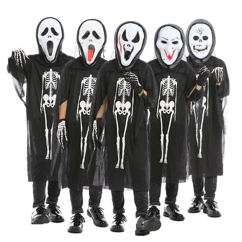 Halloween Christmas Cosplay Costume Witch Masquerade Skeleton Skull Cranium Ghost Clothes Children's Horror Clothes Set